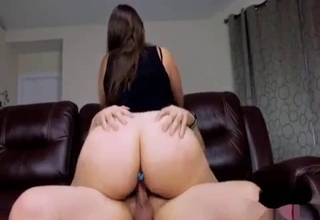Big booty brunette fucks her brother