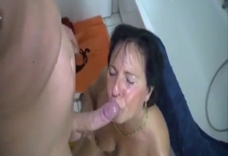 Chubby mommy getting face-fucked here