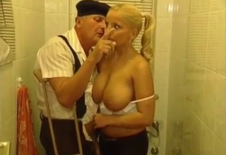 Senile grandpa gets a handjob here