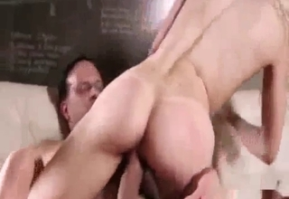 Blonde blows her relative and rides him