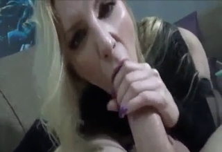 Blonde mommy in black sucking it good