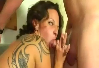 Slutty babe jerking that mature cock