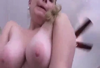 Busty blonde getting violated here