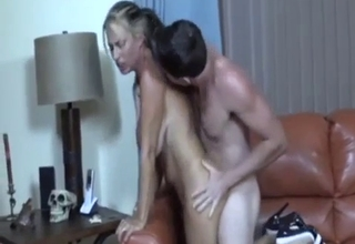 Sweaty love-making with a busty blonde