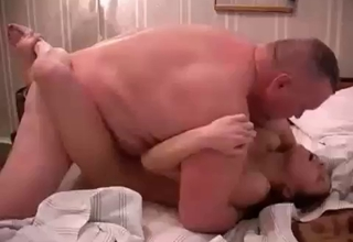 Fat father gaping his little daughter