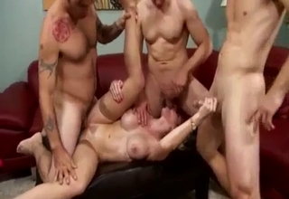 Busty bitch gang-banged by the family