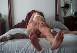 She basically does splits on his cock