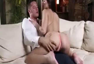 Brunette sucking father's boner