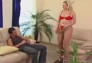 Blond-haired Russian mommy fucked