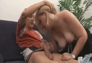 Nasty mommy blowing her hot son
