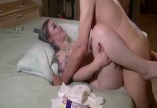 Tatted-up bitch getting violated here