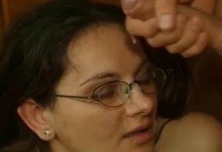 Cumming on his daughter's glasses