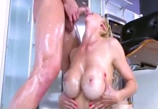 Oily MILF riding her son's meaty dick