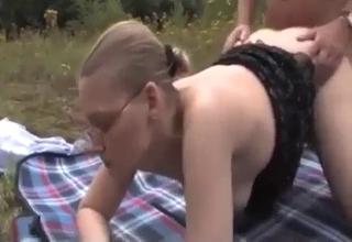 Mature German siblings fucking outdoors