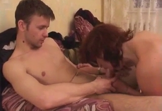 Tired mommy riding her son's cock