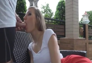 Blonde getting fucked on a balcony