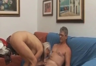 Strict daddy lets her ride that boner