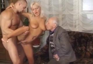 Tanned bitch kinda cucks her father