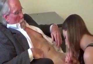 Brunette blows her mature father