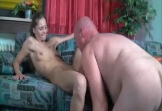 Blonde worships her pops' cock