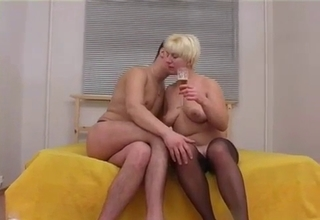 Pantyhose mommy getting licked on cam