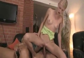 Blond-haired beauty blows this dude