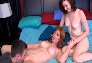 Redheaded mommy and daughter fuck